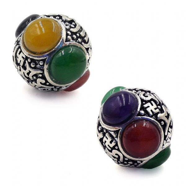 Multicoloured synthetic stone Tibetan Bead